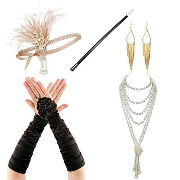 1920S Accessories Flapper Costume Women Headpiece Cigarette Necklace Gloves Af3 Accessory Sets