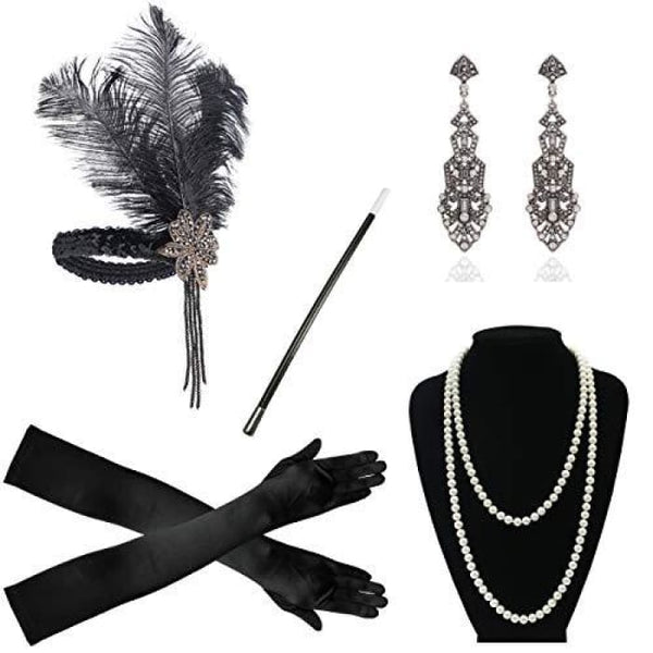 1920S Accessories Flapper Costume Women Headpiece Cigarette Necklace Gloves B Accessory Sets