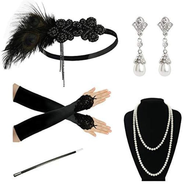 1920S Accessories Flapper Costume Women Headpiece Cigarette Necklace Gloves B2 Accessory Sets