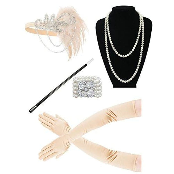 1920S Accessories Flapper Costume Women Headpiece Cigarette Necklace Gloves Bb Accessory Sets