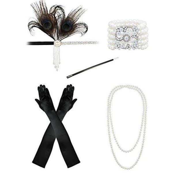 1920S Accessories Flapper Costume Women Headpiece Cigarette Necklace Gloves Bb3 Accessory Sets