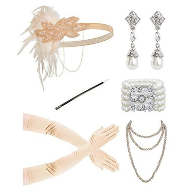 1920S Accessories Flapper Costume Women Headpiece Cigarette Necklace Gloves Ee Accessory Sets
