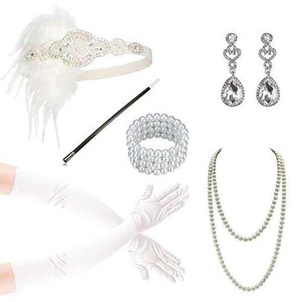 1920S Accessories Flapper Costume Women Headpiece Cigarette Necklace Gloves F Accessory Sets