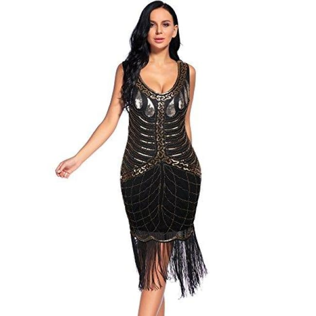 95f3ef36c25 1920S Dress Great Gatsby Sequin Fringed Party Flapper Dress Back To Results