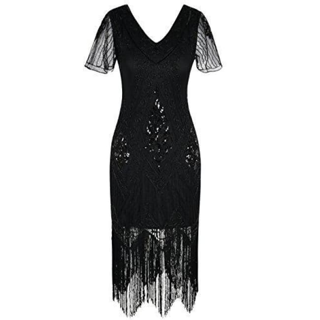 1920S Dress Sequin Art Deco Flapper Dress With Sleeve 4/6 / Black