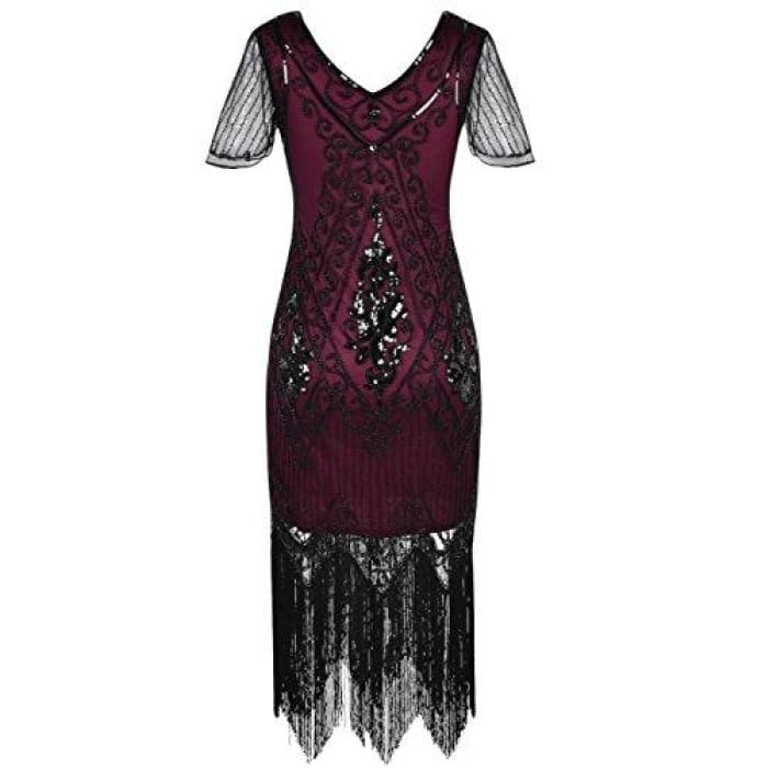 1920S Dress Sequin Art Deco Flapper Dress With Sleeve