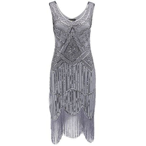 1920S Flapper Dress Roaring 20S Great Gatsby Costume Dress Small / Black And Gray