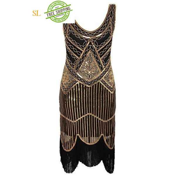 1920S Gastby Inspired Sequined Embellished Fringed Flapper Dress Back To Search Results For Woman Dre