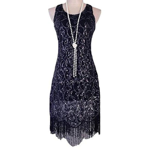 1920S Gastby Sequined Embellished Fringed Paisley Flapper Dress Back To Results