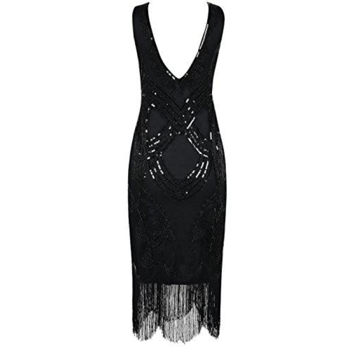 1920S Gatsby Art Deco Beads Fringed Cocktail Flapper Dress