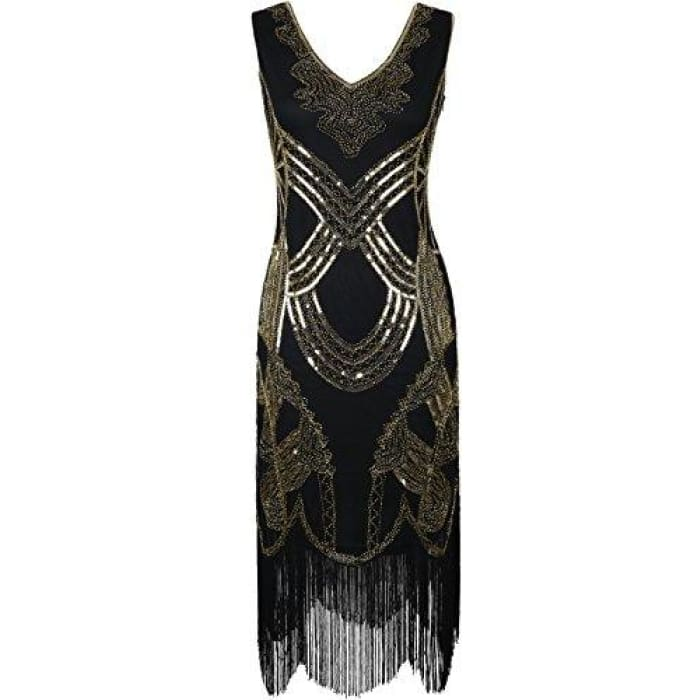 1920S Gatsby Art Deco Beads Fringed Cocktail Flapper Dress Small / All Gold