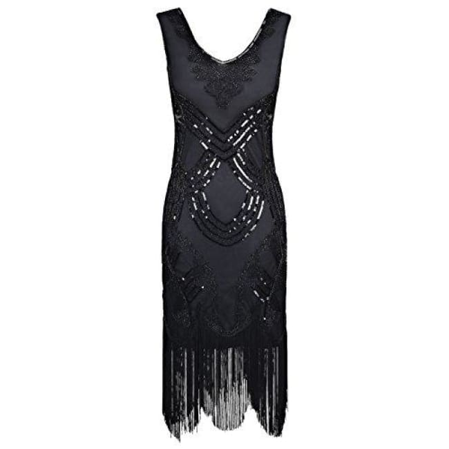 1920S Gatsby Art Deco Beads Fringed Cocktail Flapper Dress Small / Black