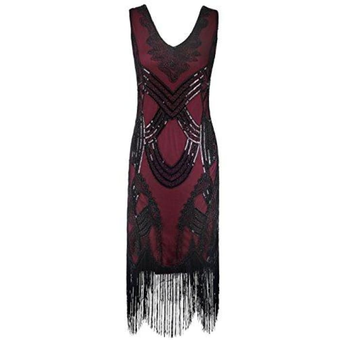 1920S Gatsby Art Deco Beads Fringed Cocktail Flapper Dress Small / Burgundy
