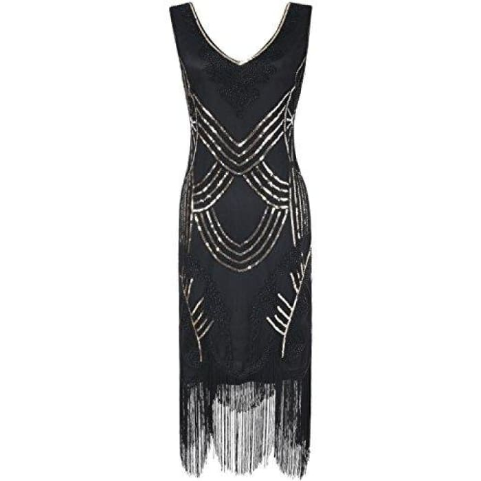 1920S Gatsby Art Deco Beads Fringed Cocktail Flapper Dress Small / Gold