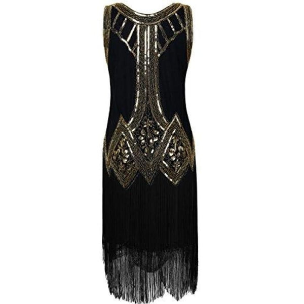1920S Gatsby Beaded Fringed Inspired Cocktail Flapper Dress Back To Prettyguide Store