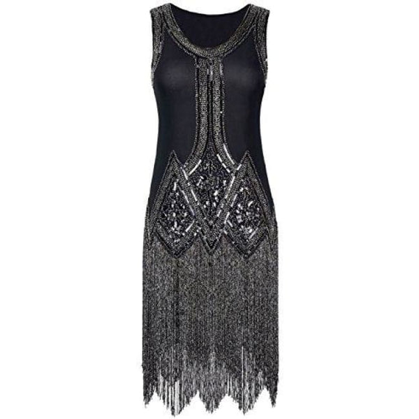 1920S Gatsby Beaded Fringed Inspired Cocktail Flapper Dress X-Small / Black Back To Prettyguide Store