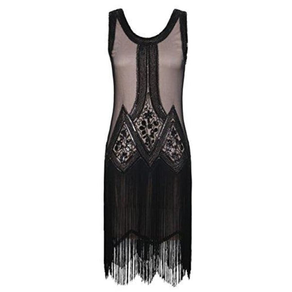 1920S Gatsby Beaded Fringed Inspired Cocktail Flapper Dress X-Small / Black Beige Back To Prettyguide Store