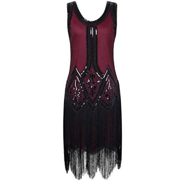 1920S Gatsby Beaded Fringed Inspired Cocktail Flapper Dress X-Small / Burgundy Back To Prettyguide Store