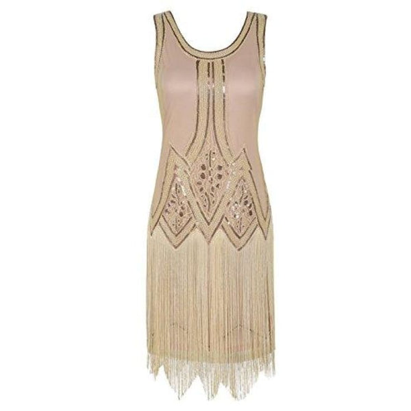 1920S Gatsby Beaded Fringed Inspired Cocktail Flapper Dress X-Small / Champagne Beige Back To Prettyguide Store