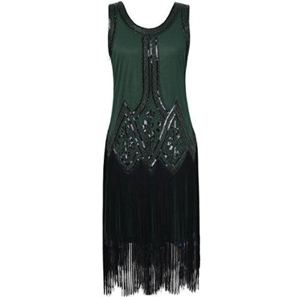 1920S Gatsby Beaded Fringed Inspired Cocktail Flapper Dress X-Small / Green