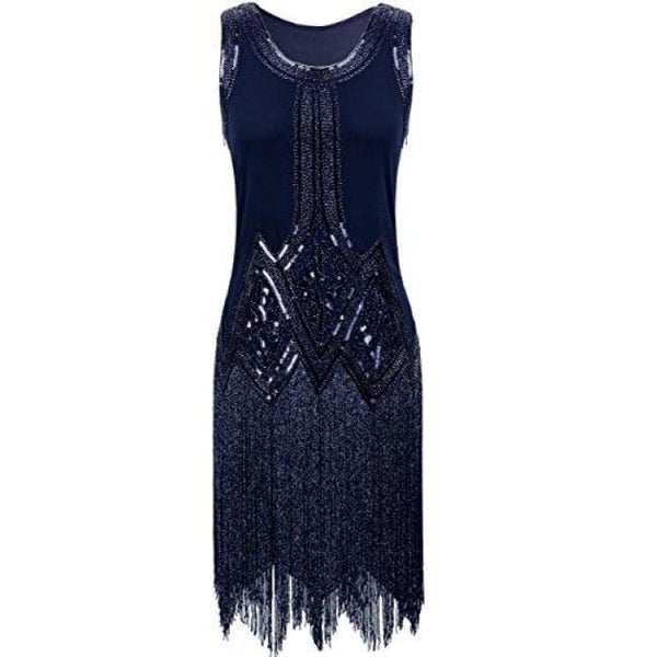 1920S Gatsby Beaded Fringed Inspired Cocktail Flapper Dress X-Small / Navy Back To Prettyguide Store