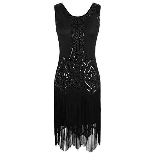 1920S Gatsby Beaded Fringed Inspired Cocktail Flapper Dress X-Small / Pure Black Back To Prettyguide Store