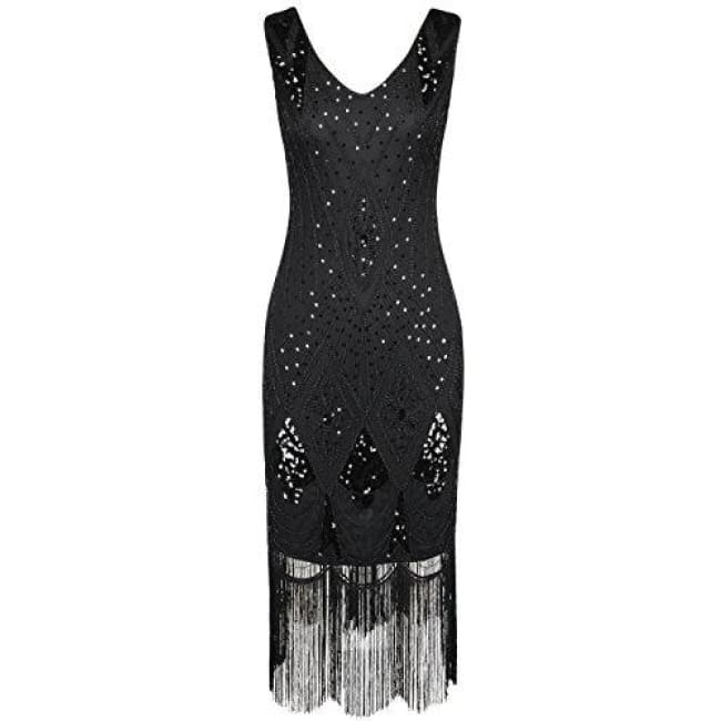 1920S Gatsby Cocktail Sequin Art Deco Flapper Dress Small / Black