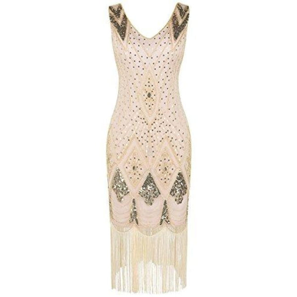 1920S Gatsby Cocktail Sequin Art Deco Flapper Dress Small / Gold Beige