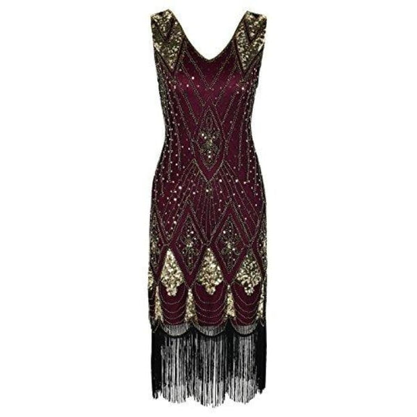 1920S Gatsby Cocktail Sequin Art Deco Flapper Dress Small / Gold With Burgundy