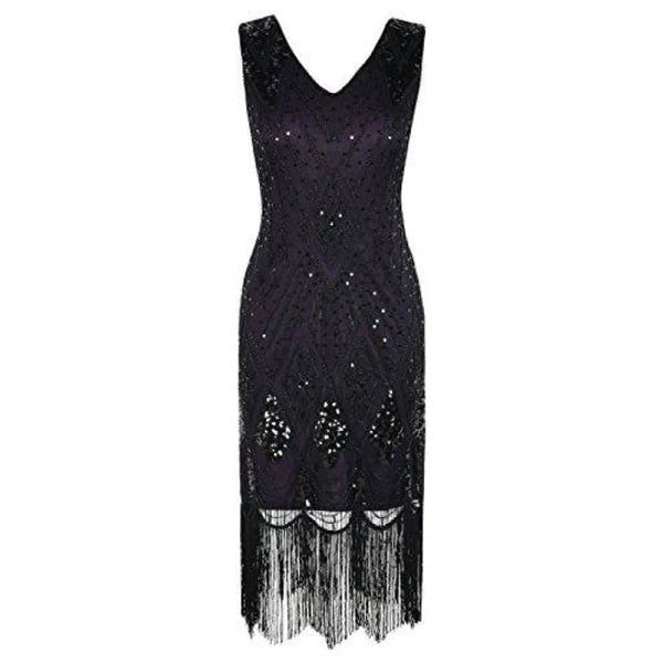 1920S Gatsby Cocktail Sequin Art Deco Flapper Dress Small / Purple