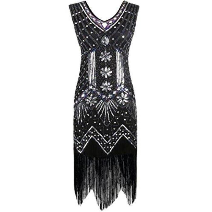 1920S Gatsby Dress Sequin Art Deco Inspired Flapper Dress 4/6 / Black Back To Results