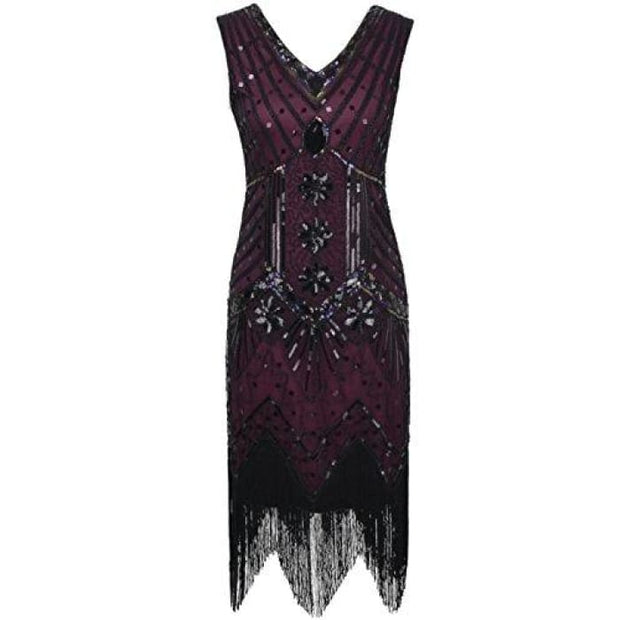 1920S Gatsby Dress Sequin Art Deco Inspired Flapper Dress 4/6 / Burgundy Back To Results