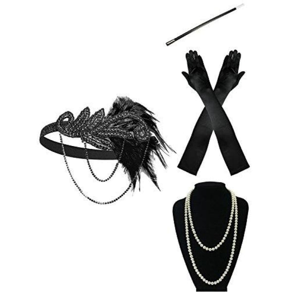 1920S Gatsby Flapper Feather Headband 20S Accessories Crystal Beaded Wedding Headpiece A-Black Flapper Accessories Set Fascinators