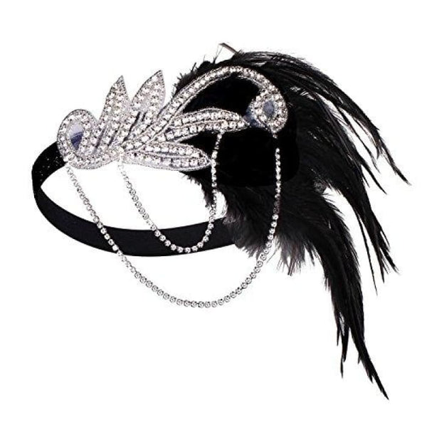 1920S Gatsby Flapper Feather Headband 20S Accessories Crystal Beaded Wedding Headpiece B-Black Fascinators