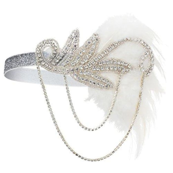 1920S Gatsby Flapper Feather Headband 20S Accessories Crystal Beaded Wedding Headpiece C-White Fascinators