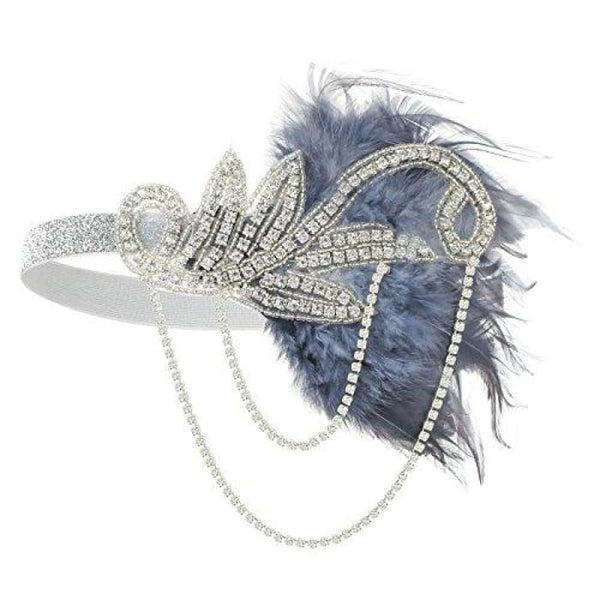1920S Gatsby Flapper Feather Headband 20S Accessories Crystal Beaded Wedding Headpiece D-Grey Fascinators
