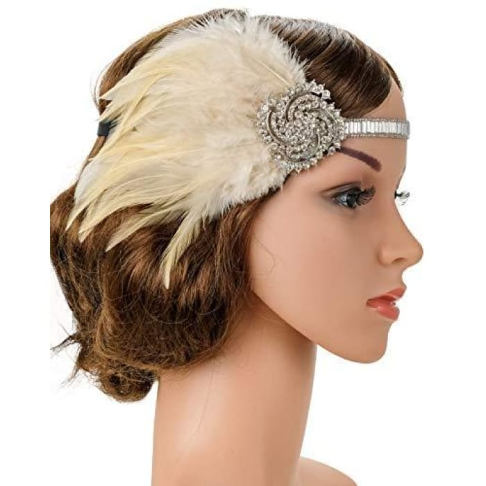 5152b213715c4 1920S Gatsby Flapper Feather Headband 20S Accessories Crystal Beaded Wedding  Headpiece F2-Silver And Nude
