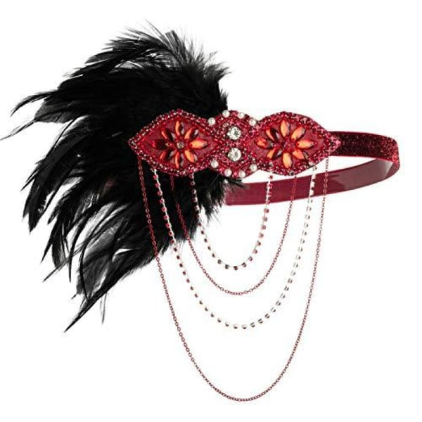 1920S Gatsby Flapper Feather Headband 20S Accessories Crystal Beaded Wedding Headpiece G-Burgundy Fascinators