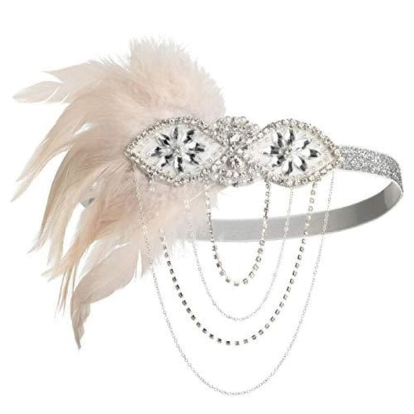 1920S Gatsby Flapper Feather Headband 20S Accessories Crystal Beaded Wedding Headpiece G-Nude Fascinators