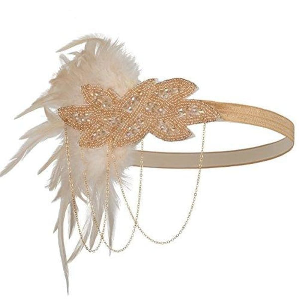 1920S Gatsby Flapper Feather Headband 20S Accessories Crystal Beaded Wedding Headpiece H-Nude Pink Fascinators