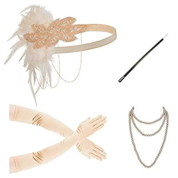 1920S Gatsby Flapper Feather Headband 20S Accessories Crystal Beaded Wedding Headpiece H-Nude Set Fascinators