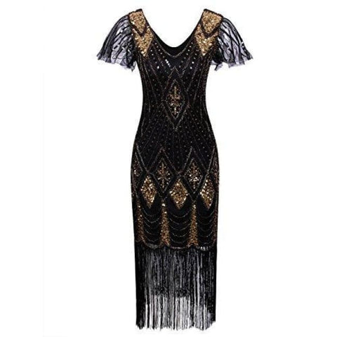 1920S Gatsby Inspired Sequin Beads Long Fringe Flapper Dress With Sleeves Back To Results