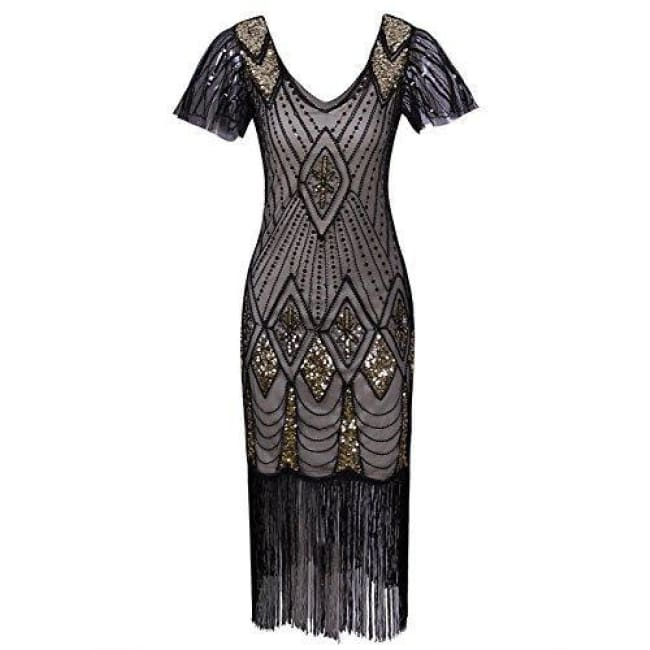 24d06e903c226 ... 1920S Gatsby Inspired Sequin Beads Long Fringe Flapper Dress With  Sleeves Small / Beige Gold Back ...