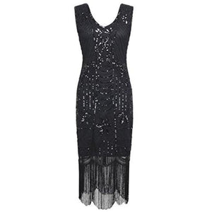 1920S Gatsby Sequin Art Deco Fringed Cocktail Flapper Dress Back To Prettyguide Store