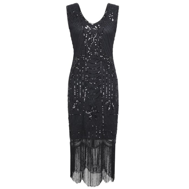 1920S Gatsby Sequin Art Deco Fringed Cocktail Flapper Dress