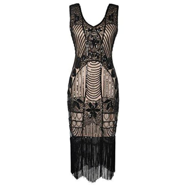 1920S Gatsby Sequin Art Deco Fringed Cocktail Flapper Dress Small / Black Beige