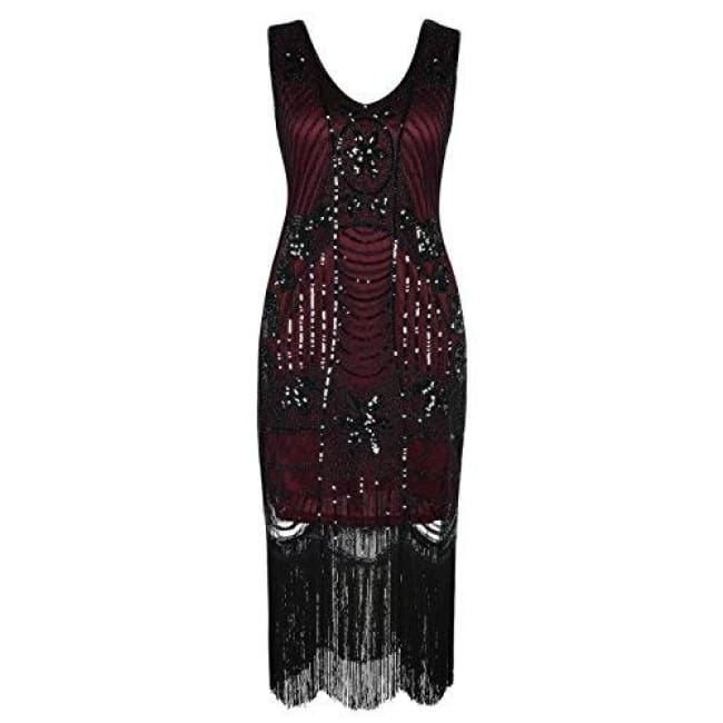 1920S Gatsby Sequin Art Deco Fringed Cocktail Flapper Dress Small / Burgundy Back To Prettyguide Store