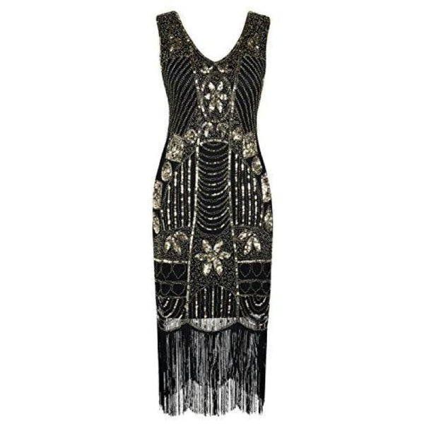 1920S Gatsby Sequin Art Deco Fringed Cocktail Flapper Dress Small / Gold Back To Prettyguide Store
