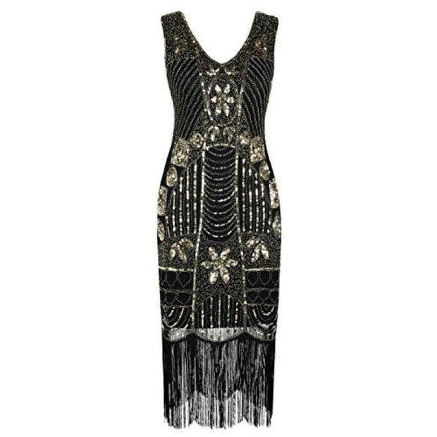 1920S Gatsby Sequin Art Deco Fringed Cocktail Flapper Dress Small / Gold