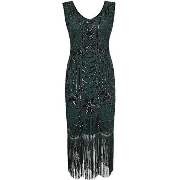 1920S Gatsby Sequin Art Deco Fringed Cocktail Flapper Dress Small / Green